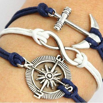 Anchor Compass Infinite Multilayer Bracelet from LOOBACK FASHION STORE