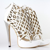 $ 65.19 Fashionable Hollow-Outs Peep-toe Stiletto Sandals