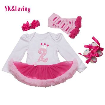 Birthday baby clothes Girls Princess Party Lace Tutu Romper Dress Long Sleeve Cotton H