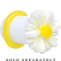 0 Gauge White Acrylic White Daisy Flower Single Flare Plug | Body Candy Body Jewelry