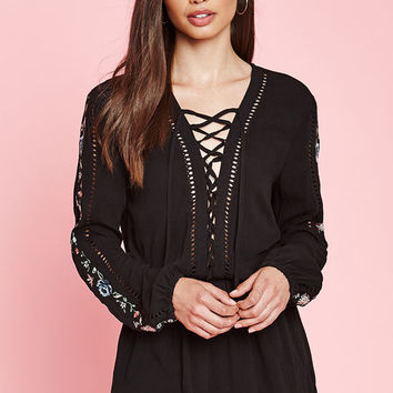 Kendall & Kylie Long Sleeve Embroidered Romper at PacSun.com