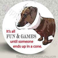 Doxie Fun & Games - Buy 2 Get 1 FREE - 2.25 Inch Magnet or Pocket Mirror - Dachshund 2-1/4""