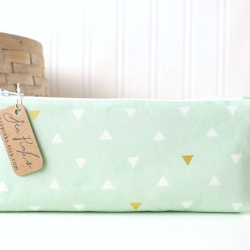 Mint Green Pencil Bag Mint and Gold Geometric Triangles Cute Pencil Case Pastel Pencil Pouch