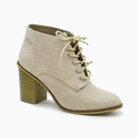 LEWIS LACE UP BOOTIES IN LIGHT TAUPE