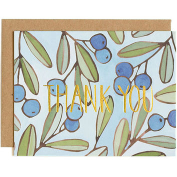 berries foil thank you card