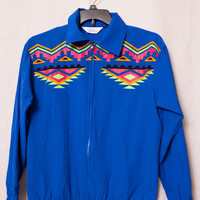 Blair Boutique Ladies Small 80's Windbreaker, Ladies Small 80's 90's Workout Jacket, Aztec Styled Neon Green Blue Windbreaker