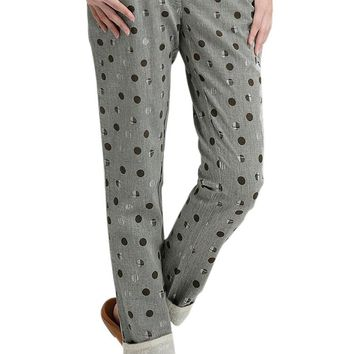 Women's Polka Dot Embroidered Cuffed Pants