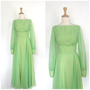 Vintage 60s Gown / 60s green dress / bridesmaid / wedding dress / floor length / evening dress / prom / Small