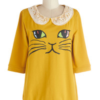 ModCloth Cats Mid-length Short Sleeves Cats What I Like About You Sweater