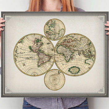Unique Antique World Map in Various Sizes, Vintage, Restored, Upcycled, Map, Wall Art, Poster