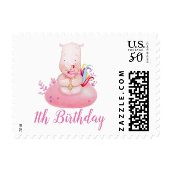 Sweet cute Unicorn Watercolor Girl First Birthday Postage