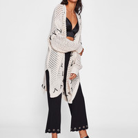 Drop Shoulder Slit Side Open Knit Cardigan
