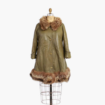 Vintage 60s COAT / 1960s BONNIE CASHIN Olive Green Leather & Raccoon Fur Swing Coat