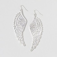 Silver and Crystal Large Wing Drop Earrings  | Claire's