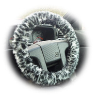Pretty Snow leopard fuzzy faux fur car steering wheel cover furry animal print like cheetah