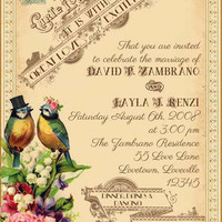 Tallulah - Vintage Victorian Love Birds and Roses - Printable DIY Wedding Invitation Suite - Customized Wedding Invitation
