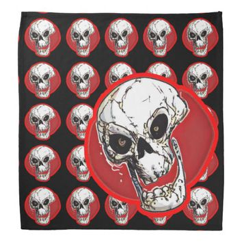 skull tiled pattern with big skull combination bandana