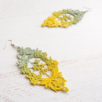 Ombre Lace Earrings - Aysel - Pastel Mint to Neon Yellow Statement Earrings- Dip Dyed Summer Jewelry - Hand Painted Earrings