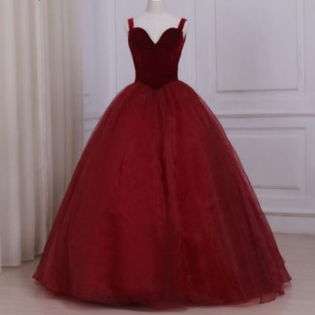 Elegant Organza Prom Dress Sweetheart Sleeveless Ball Gown Red Wine Prom Dresses Back Lace-up