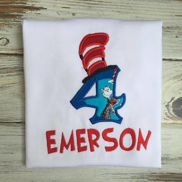 Dr. Seuss  Cat in the Hat birthday shirt or Onesuit