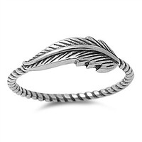 925 Sterling Silver Sideway Feather Ring 6MM