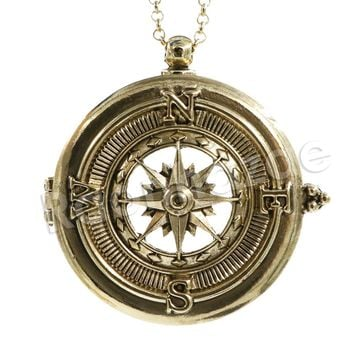 Antique Vintage Design Compass 5X Magnifying Glass Locket Pendant Necklace