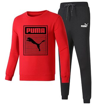 PUMA 2018 autumn and winter new round neck pullover casual trousers two-piece red