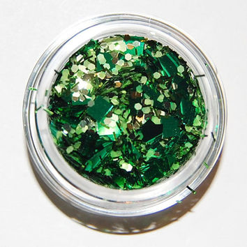 Solvent Resistant Glitter Mix: Green Sparkle Mix 5 GRAM JAR. Raw Glitter Mix for Nail Polish and Nail Art