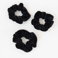 Velvet Scrunchies Set Of 3 - Black