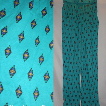 VIntage 80s CH Sport Teal Geometric Womens Hammer Pants New Old Stock with Belt