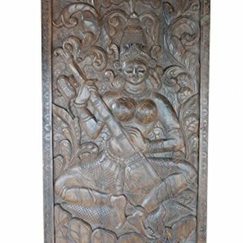 Spiritual Vintage Carved Saraswati Goddess of knowledge, music, arts, wisdom, healing, purifying powers Wall Panel