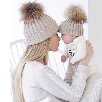 Mom and baby Winter Cat Hat Knit Hats For Women girl boy Caps Pearls Knitted Cap With Ear Flaps #410