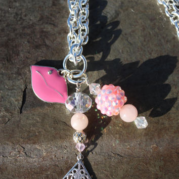 Kissable Lips and Rose Quartz Interchangeable Slide Pendant Charm Cluster Change Your Style Change Your Energy Collection   Item #CYS006