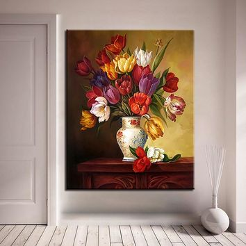 Flower DIY Oil Painting By Numbers Abstract Tulip Vase Drawing Unique Digit Handpainted Color Pictures On Canvas Wall Art Decor