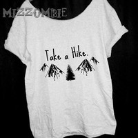 HIKING  MOUNTAINS shirt  Off The Shoulder, Over sized, street style slouchy, loose fitting, graphic tee, mizzombie grunge
