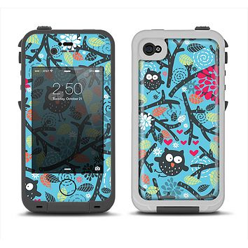 The Blue and Black Branches with Abstract Big Eyed Owls Apple iPhone 4-4s LifeProof Fre Case Skin Set