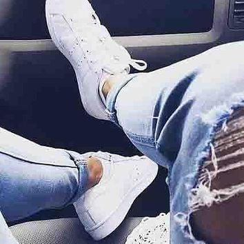 Adidas stan smith men and women trendy casual fashion sports shoes F Pure white