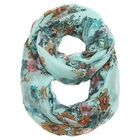 Tabitha Flower Infinity Scarf in Baby Blue