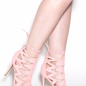 Can't Help Myself Caged Lace-Up Heels