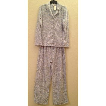 Charter Club Fleece Top and Pajama Pants Set 141141 Blue Leopard XXXL