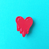 "Valentine's Day ""My Bleeding Heart"" Red Bloody Heart Enamel Pin or Tie Tack"