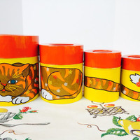 1960s Tin Kitty Nesting Canisters Tabby Cat Orange and Yellow Kitchen Kitsch