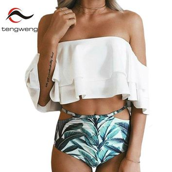 Tengweng 2018 White Bandeau Falbala Bikini High Waist Ruffle Print Bottom Swimwear Push up Women Plus Size Bathing Suits XXL
