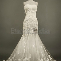 Sweetheart Neckline Ruched Bodices with Floral Applique Beads Mermaid Wedding Dress Cheap Quality Wedding Dress 2013