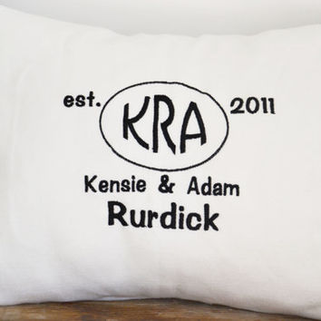 Personalized wedding pillow, anniversary pillow cover,name pillow cover, embroidered wedding pillow,newlywed pillow case,wedding gift (A53)