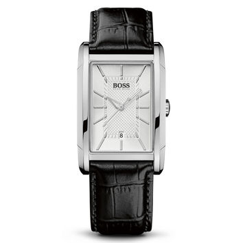 Hugo Boss 1512620 Men's Quartz Silver Dial Black Leather Strap Date Watch