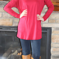 Round Neck Jersey Knit Top - Red