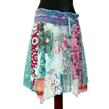 Asymmetric Pixie Skirt, Lagenlook Skirt, Upcycled Clothing, Gypsy Couture, Boho Chic Skirt, Layered Lagenlook, OOAK Skirt, Eclectic Fashion