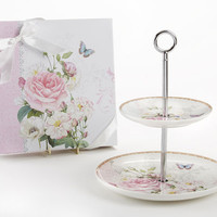 Pink Rose 2 Tier Cake Dessert Stand - Gift Boxed