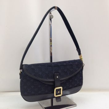 Auth LOUIS VUITTON Monogram Mini Canvas Marjorie Shoulder Bag Navy 8B150050#